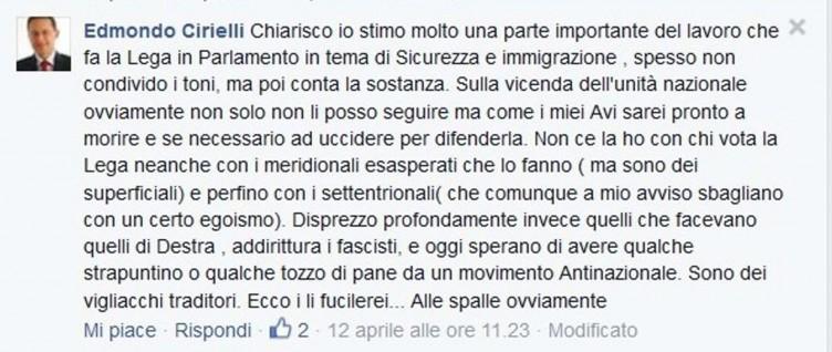 """Cirielli shock: """"li fucilerei alle spalle"""" è la frase che ha postato su Facebook contro i fascisti di Noi con Salvini - aSalerno.it"""