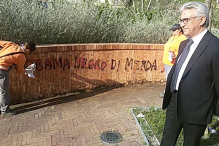 Salerno: razzismo contro Obama, scritta offensiva subito rimossa - aSalerno.it