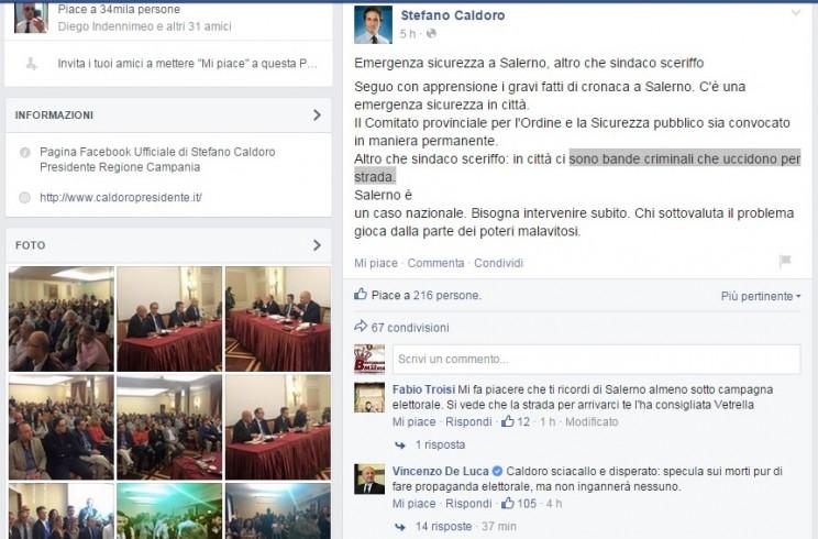 Regionali 2015: botta e risposta su Facebook tra Caldoro e De Luca - aSalerno.it