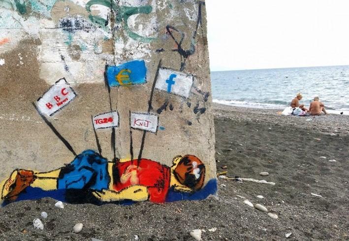 Murales provocatorio a Salerno, l'amara immagine del bimbo siriano - aSalerno.it