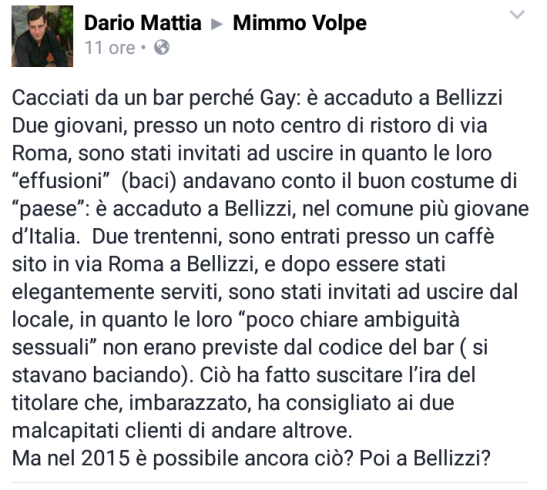 Bellizzi, cacciati dal bar perchè omosessuali - aSalerno.it
