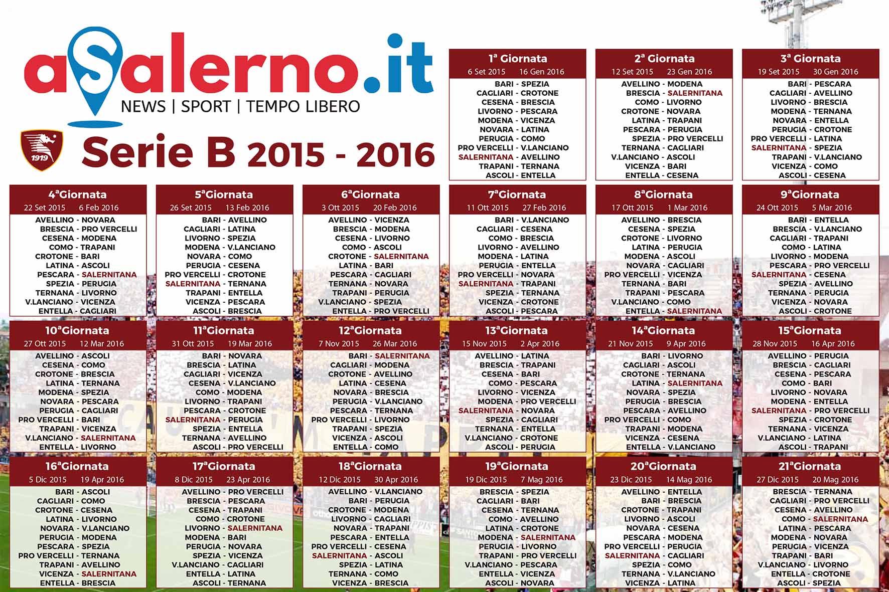 Calendario Partite Pescara.A Prossim P Chi E Asalerno Ti Regala Il Calendario Dei