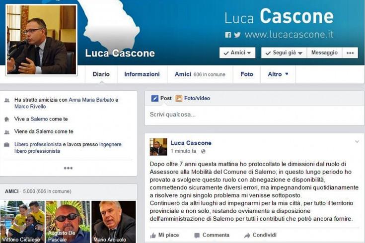 Luca Cascone ha protocollato le dimissioni da assessore comunale - aSalerno.it