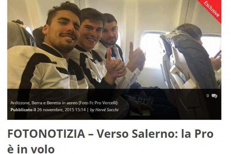 Selfie in volo: Pro Vercelli in arrivo a Salerno - aSalerno.it