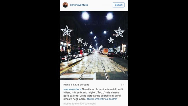 """Simona Ventura su Instagram: """"Luminarie? Salerno top in Italia"""" - aSalerno.it"""