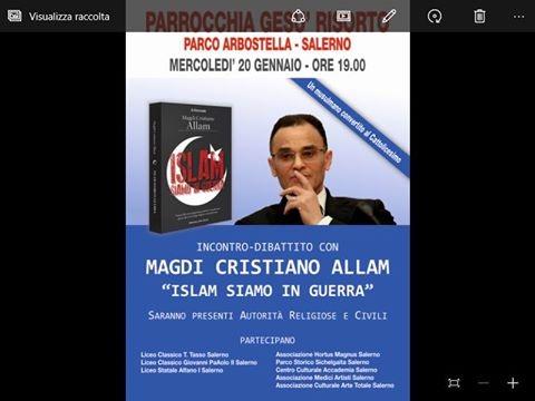 """Il libro """"Islam, siamo in guerra"""" sarà presentato al parco Arbostella - aSalerno.it"""