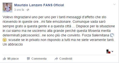 Lanzaro, parole di addio sulla sua pagina Facebook - aSalerno.it