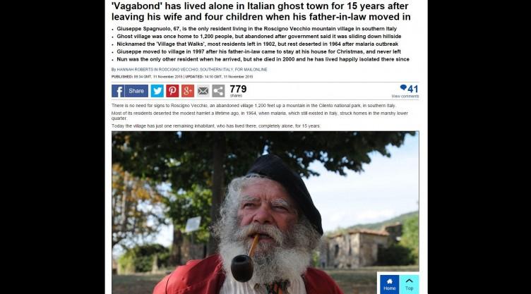 """Sul """"Daily Mail"""" la storia dell'ultimo abitante di Roscigno Vecchia - aSalerno.it"""