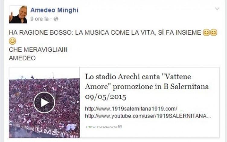 """FOTO – Amedeo Minghi innamorato del """"Vattene Amore granata"""" - aSalerno.it"""