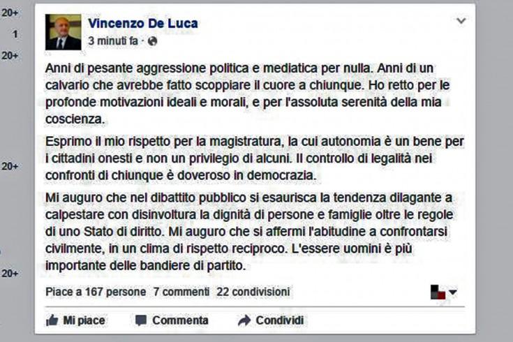 """""""Anni di aggressione politica e mediatica"""", De Luca commenta la sentenza - aSalerno.it"""