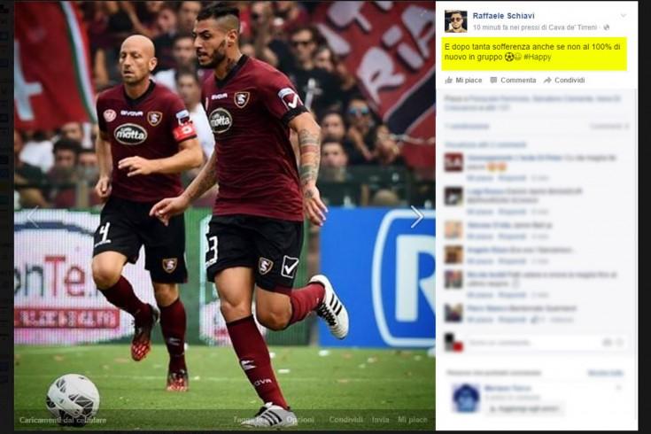 LA FOTO – Schiavi torna in gruppo e lo annuncia sulla sua pagina Facebook - aSalerno.it