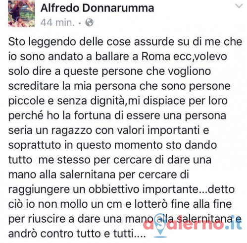 """Donnarumma su Facebook:""""Sono una persona seria, voi siete senza dignità"""" - aSalerno.it"""