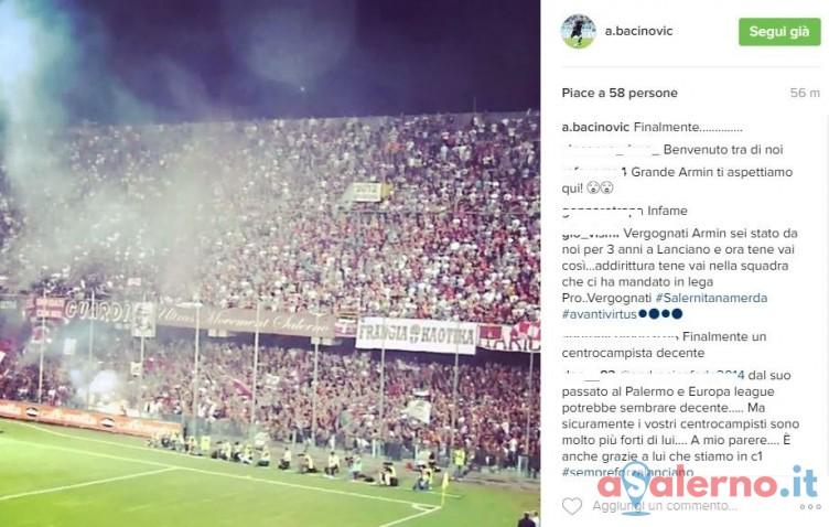 """Bacinovic stregato dalla Sud! Su Instagram come una liberazione: """"Finalmente!"""" - aSalerno.it"""