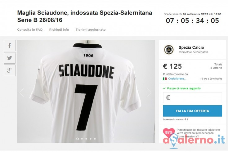 Maglia indossata durante Spezia – Salernitana all'asta per beneficenza - aSalerno.it