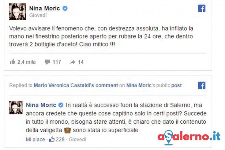 Nina Moric vittima di un furto alla stazione di Salerno - aSalerno.it