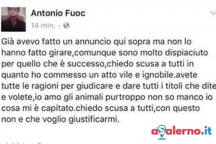 "Antonio Fuoco chiede perdono su Facebook: ""Amo gli animali"" – FOTO - aSalerno.it"