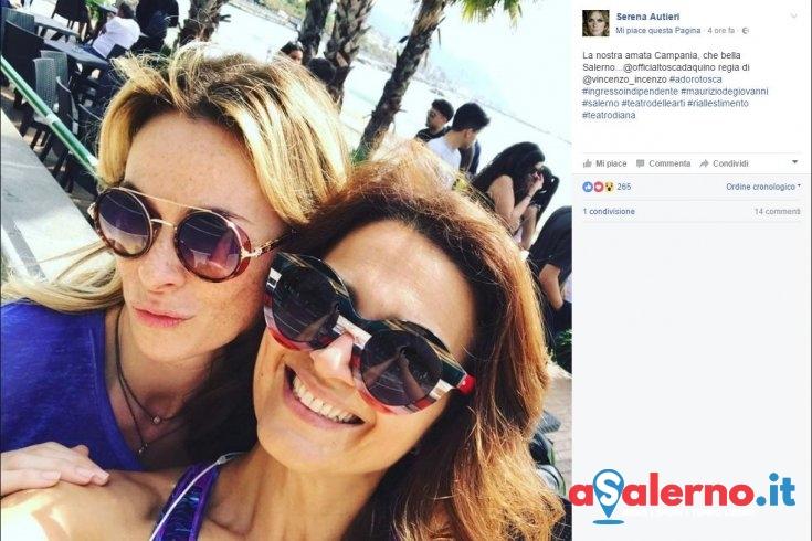 "A Salerno Serena Autieri e Tosca d'Aquino, un selfie a Santa Teresa prima del ""Delle Arti"" - aSalerno.it"