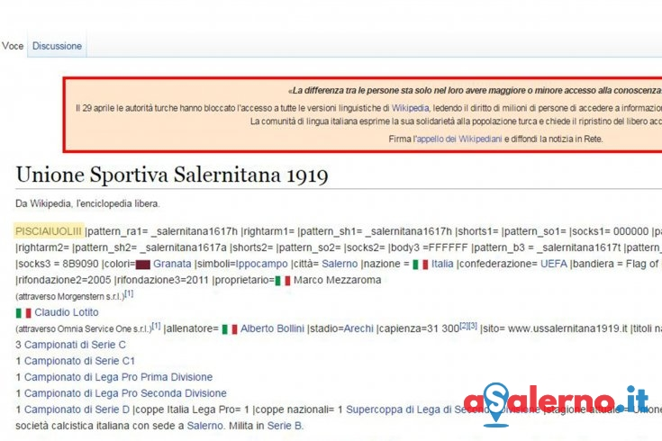 Derby, lo sfottò continua sul web: modificata la pagina wikipedia della Salernitana – FOTO - aSalerno.it