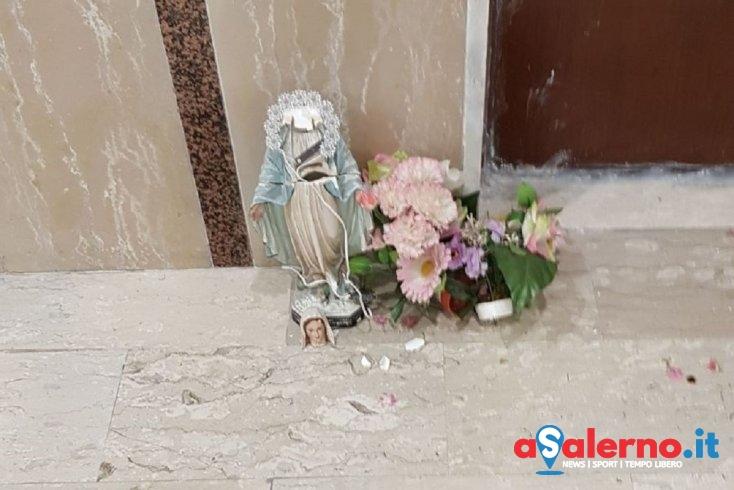 Gesto sacrilego a Torrione: decapitata statua della Madonna con scritte offensive – FOTO - aSalerno.it