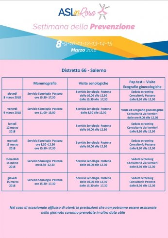 """Ecco """"Asl in Rosa"""", parte la settimana della Prevenzione Femminile - aSalerno.it"""