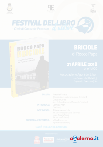 """Festival del Libro d'autore:a Capaccio, Rocco Papa presenta """"Briciole"""" - aSalerno.it"""