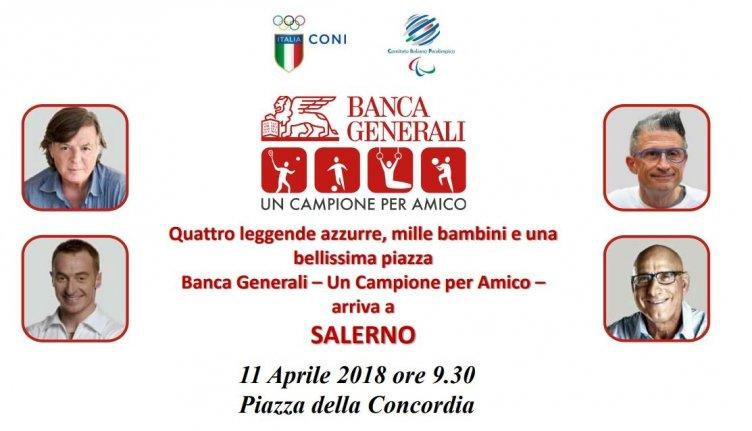"""Quattro miti dello sport italiano a Salerno, la prima tappa di """"Un Campione per Amico"""" - aSalerno.it"""