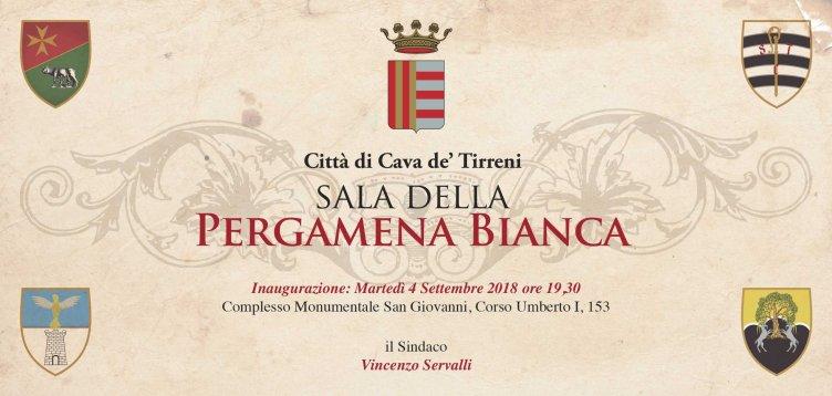"""Cava de'Tirreni: martedì si inaugura la """"Sala della Pergamena Bianca"""" - aSalerno.it"""