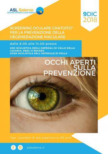 Asl Salerno: screening oculare gratuito per la prevenzione delle degenerazione maculare - aSalerno.it