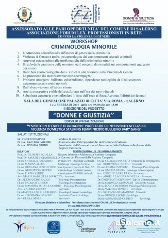 A Salerno un workshop sulla criminologia minorile - aSalerno.it