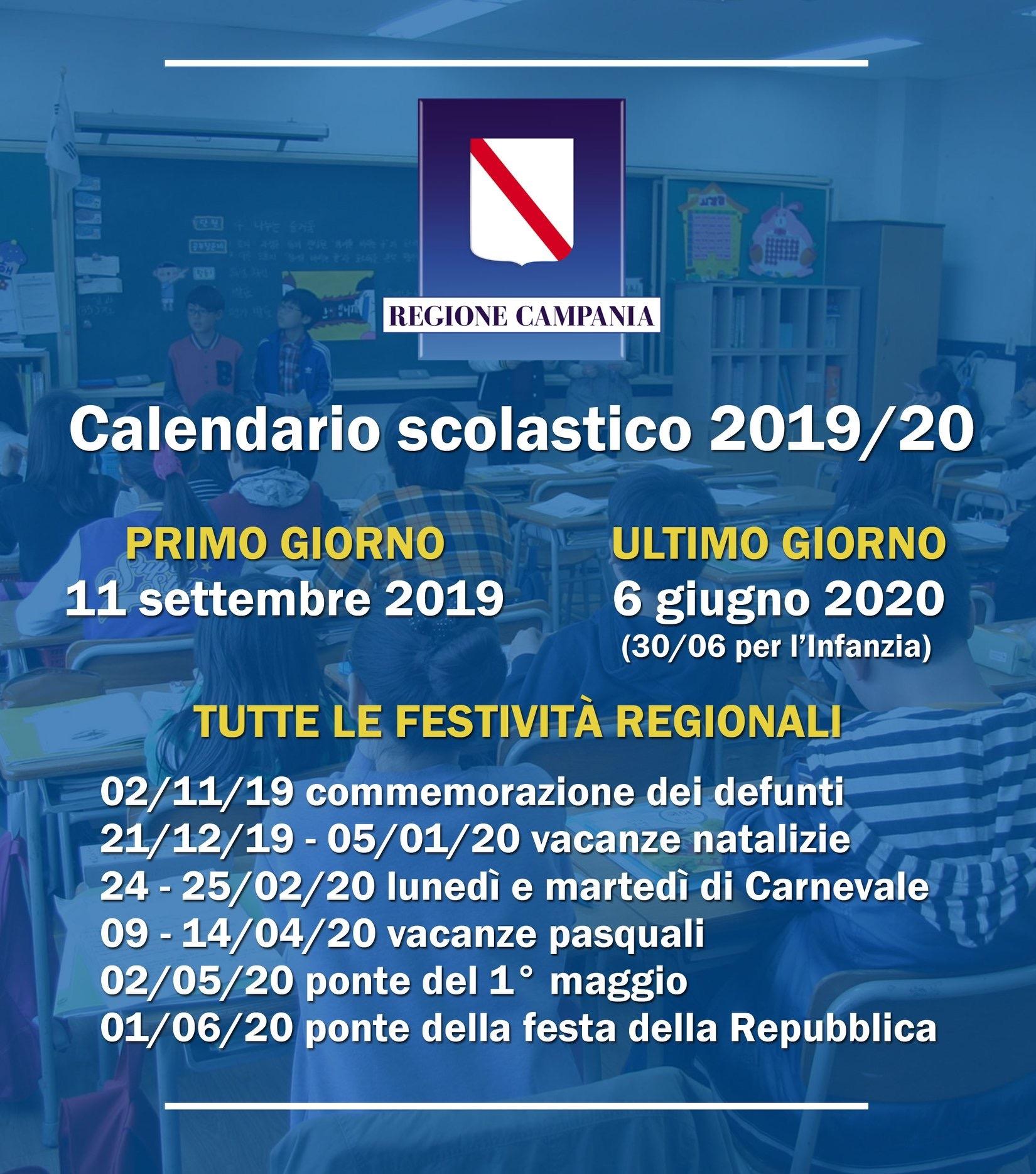 Calendario Delle Festivita 2020.Anno Scolastico 2019 2020 Date E Festivita In Campania