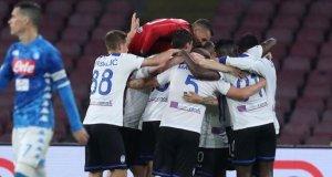 L'esultanza dei calciatori dell'Atalanta al San Paolo di Napoli | © Sito Ufficiale Atalanta