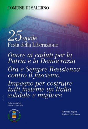 """25 aprile, il manifesto del Comune di Salerno: """"Ora e sempre Resistenza contro il fascismo"""" - aSalerno.it"""