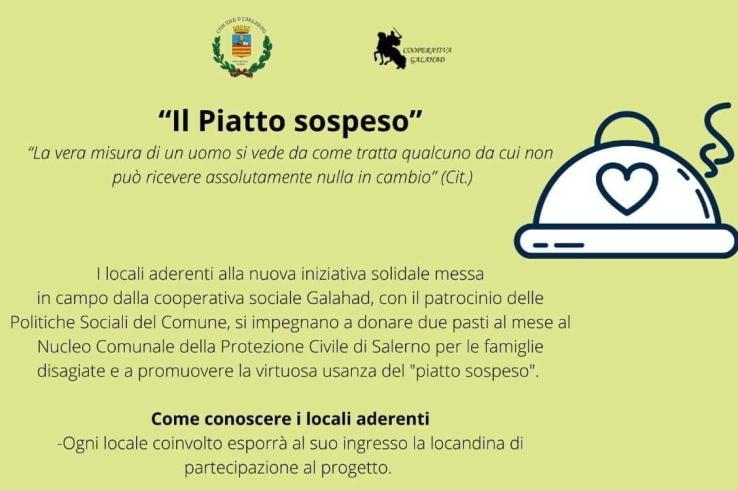 Il piatto sospeso: l'iniziativa di solidarietà per fronteggiare l'emergenza Covid19 - aSalerno.it