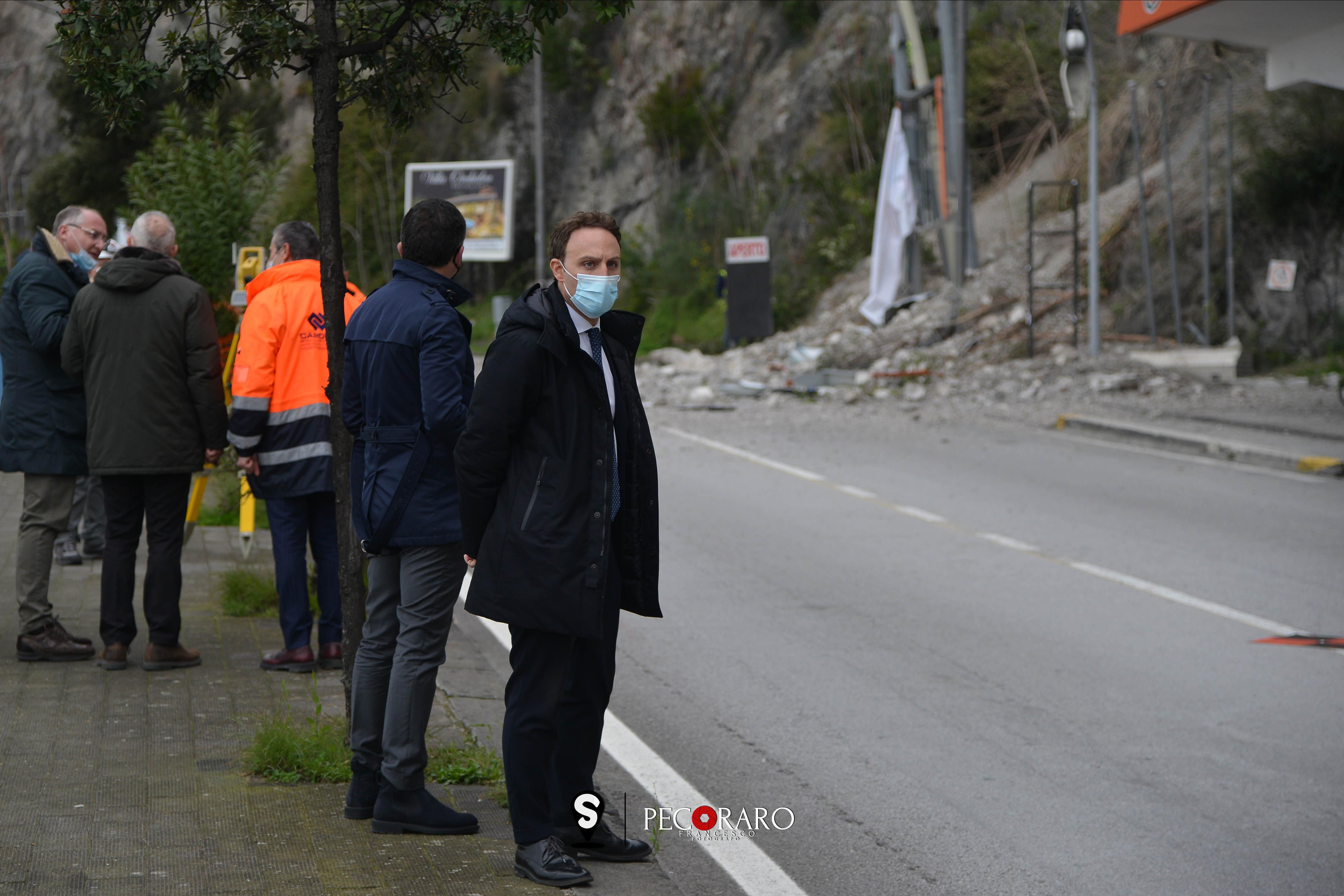 12 02 2021 Sopralluogo frana costone in via Benedetto Croce